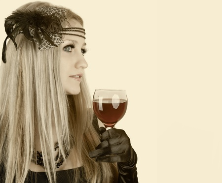 Fashion beautiful woman with glass red wine, retro portrait