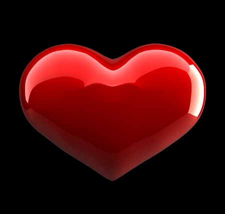 Elegant symbol of red heart on black background
