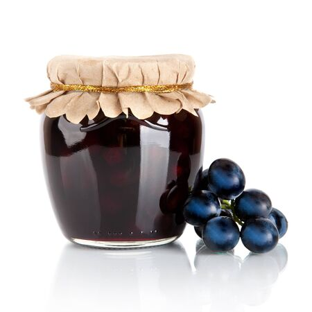 grapes jam isolated on white