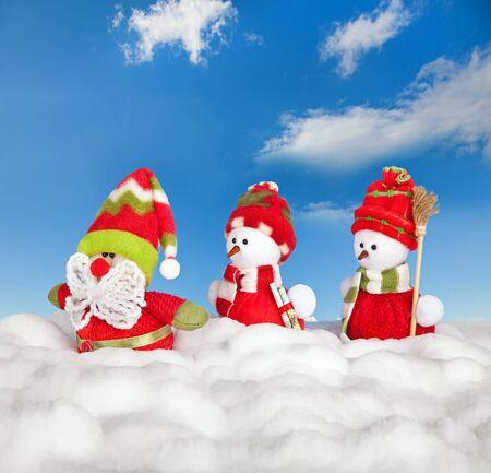 Happy winter snowman friends and santa claus