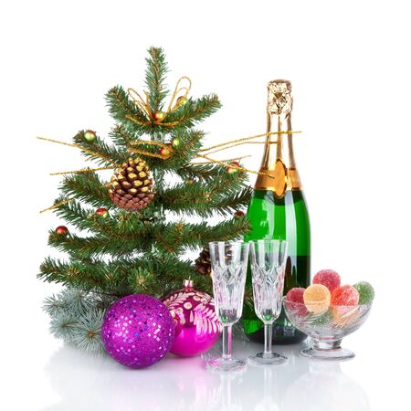 New Year Card Design with Champagne  Christmas Scene  Celebration   Stock Photo - 17007506