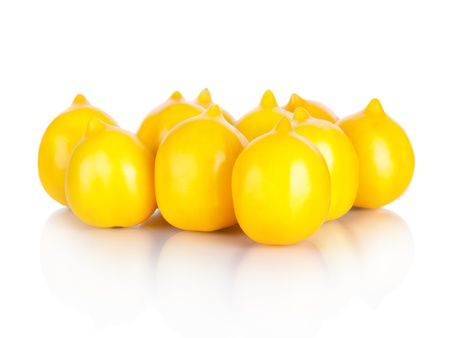 yellow tomatoes isolated on white Stock Photo
