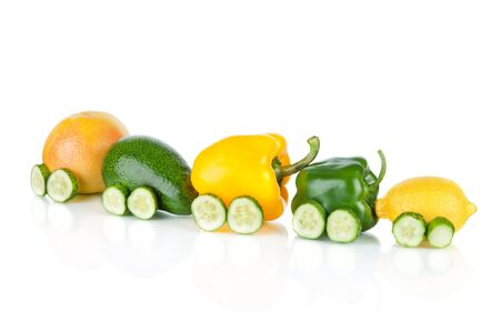 Train made of various fruit and vegetables  isolated on white background