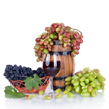 barrel, bottles, grapes and glass of wine isolated on white background