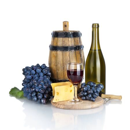 bottle, glass of wine,  ripe grapes and cheese isolated on white background  photo