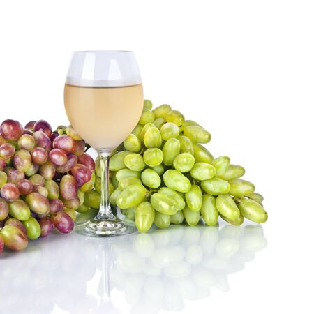 glass of wine and grape isolated on white background Stock Photo