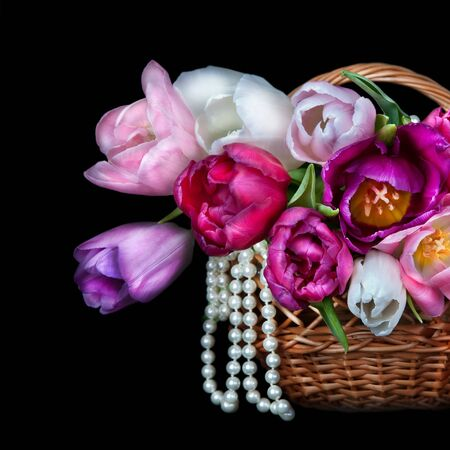 Basket with colorful bouquets of tulips flowers on black background  Stock Photo
