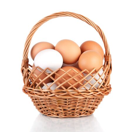 Eggs in a basket isolated on a white background