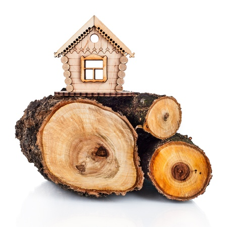 Wooden model of house and stack of wood. Concept Stock Photo
