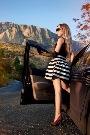 Beautiful woman and car  photo