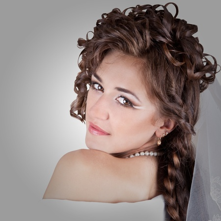 imposed: Portrait of beautiful young seductive sexy girl the bride with the imposed make-up and a hairdress