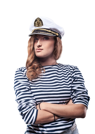 Young Beautiful Adorable Woman in sea peak-cap and stripped vest  Girl - Captain