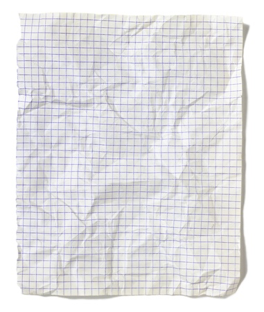 Crumpled squared sheet of paper isolated on white background Standard-Bild