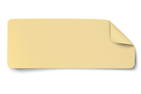 Rectangular yellow oblong paper sticker note