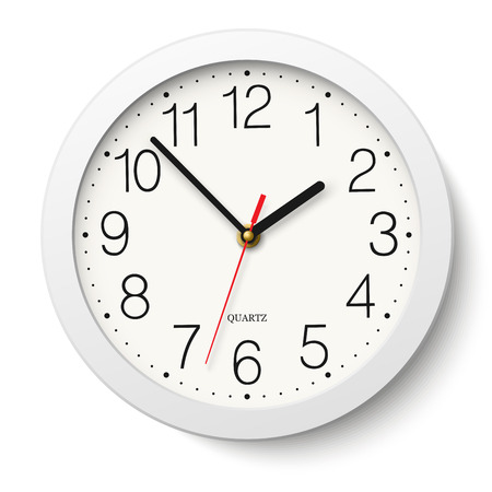 Round wall clock with white body isolated