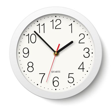 reloj: Reloj de pared redondo con cuerpo blanco aislado Vectores