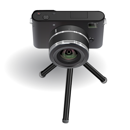 Digital photo camera on small tripod. Vector illustration.