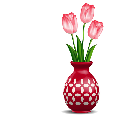 rosy: Red vase with rosy tulips posy isolated on white Illustration