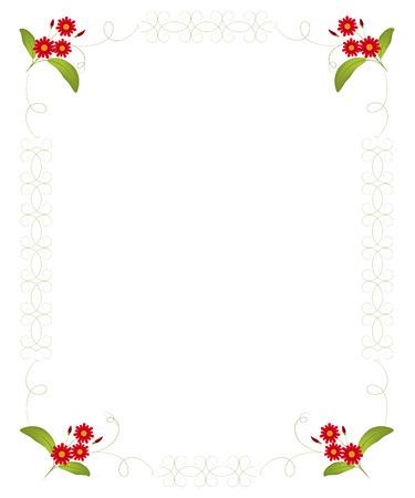crocket: Floral blank for letter, invitation, congratulation. Vector illustration. Illustration