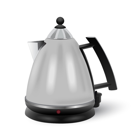 electric kettle: Vector abstract stainless electric kettle isolated on white background