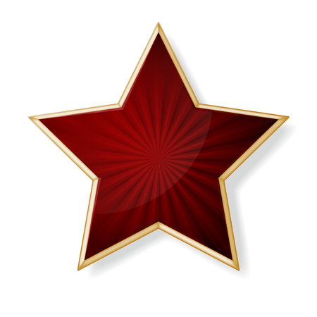 Vector red star with gold edging isolated on white