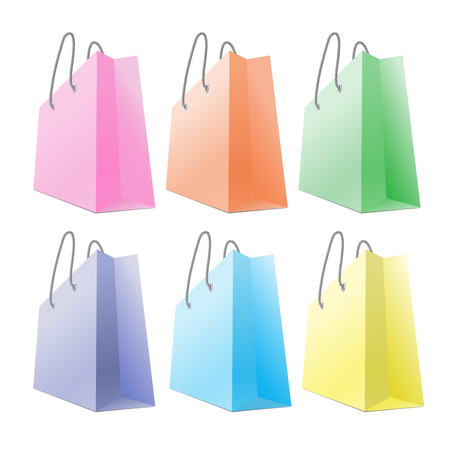cutouts: Set of colourful shopping bags isolated on white background