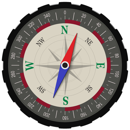 Compass in dark shades isolated Illustration