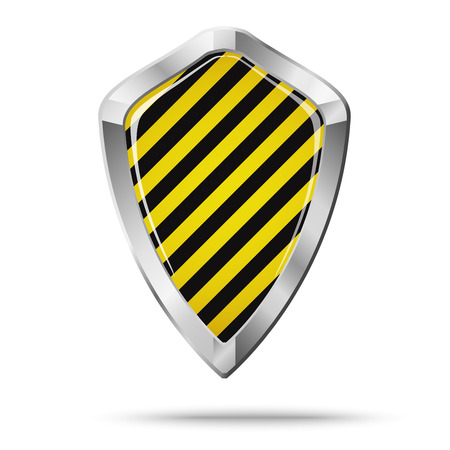 the hatch: Shield security concept isolated. Black and yellow hatch. Illustration