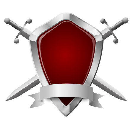 Two double-edged swords and a shield isolated on white Illustration