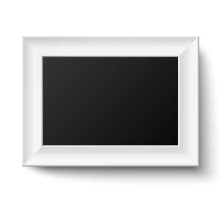 Horyzontal White A4 Wooden Frame For Picture Or Text Isolated