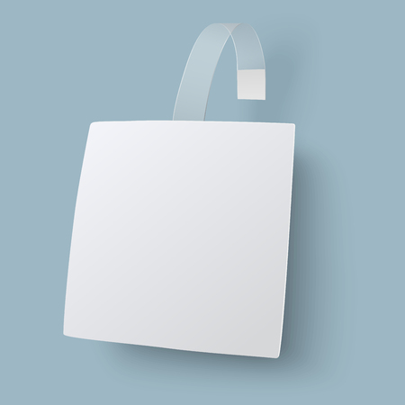 advertising wobbler: Close up view of white square paper advertising wobble with transparent leg. View from one side.