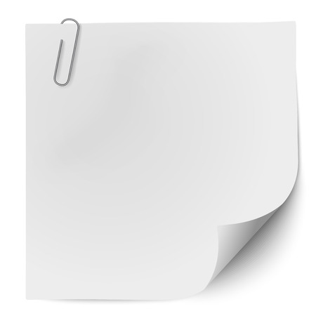 White note paper with metallic clip isolated on white background