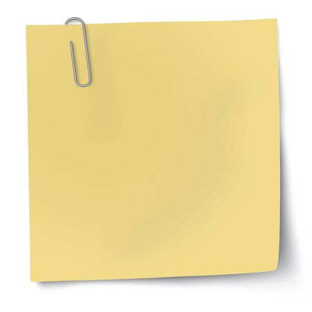 paper  clip: Yellow sticky note with paper clip Illustration