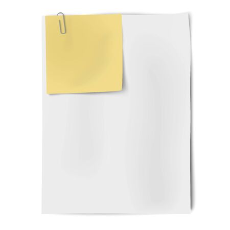 coordinated: Clipped sheets of sticky note and A4 white paper