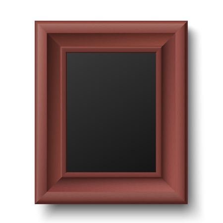 Brown wooden vintage frame for picture or text isolated on white background