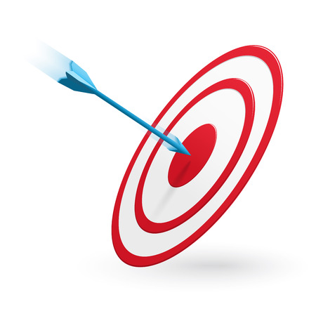 Arrow hitting the center of target isolated on white Illustration