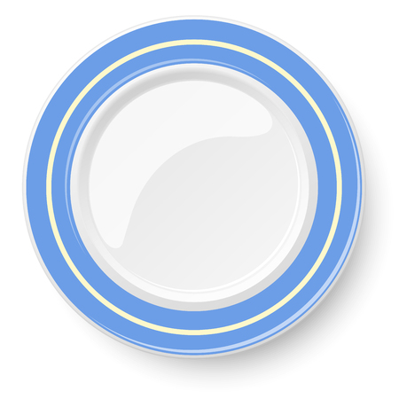empty plate: Empty plate with blue border isolated on a white background