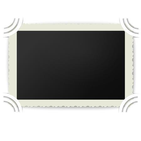 photoalbum: Retro photo frame with figured edges in vintage photoalbum isolated on white background
