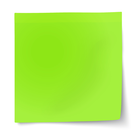 Green sticky note with turned up corner isolated on white background. Light from the upper-left corner.
