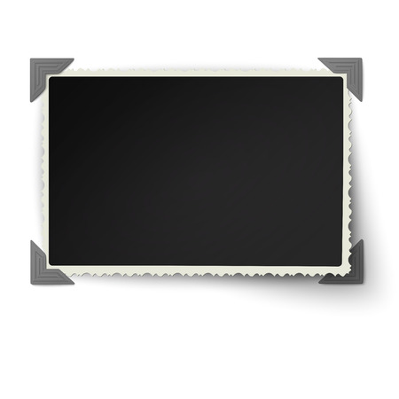 Retro not straight edges photo frame with one not fixed corner in vintage photo corners isolated on white background  イラスト・ベクター素材
