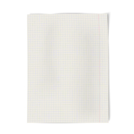 college ruled: Notebook squared paper isolated on white background