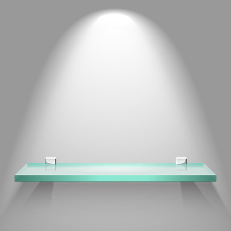 exhibit houses: Empty glass shelf under bright soft lighting hanging on a wall. Vector advertising background. Illustration