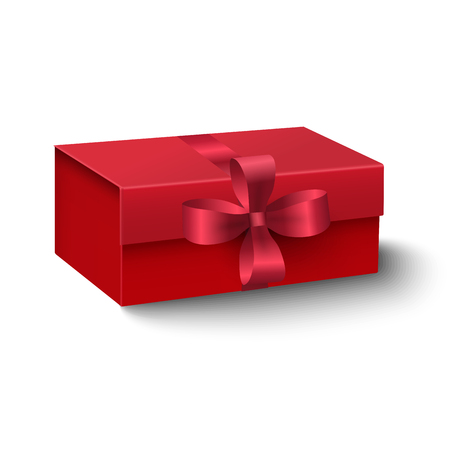 oblong: Closeup view of red oblong gift box with red ribbon and bow isolated on white