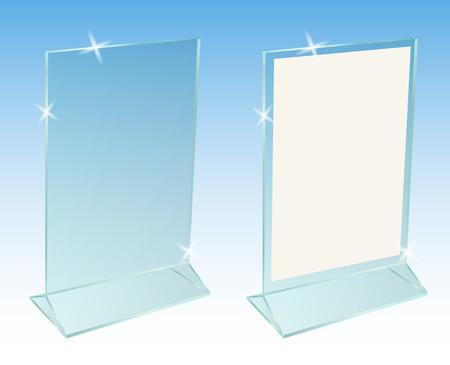 flier: Glass transparent advertising desktop stand for paper sheet