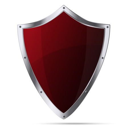 thrusting: Glittering red metallic shield isolated on white background