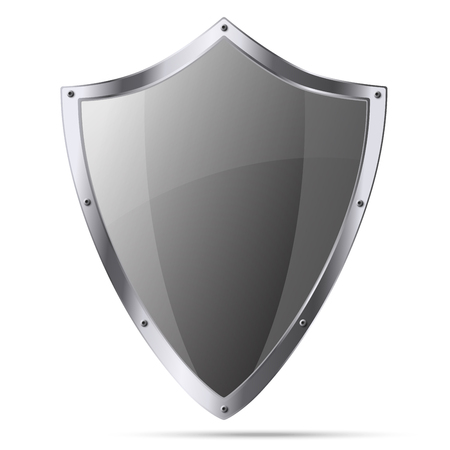 excalibur: Medieval knight shield isolated on white background Illustration
