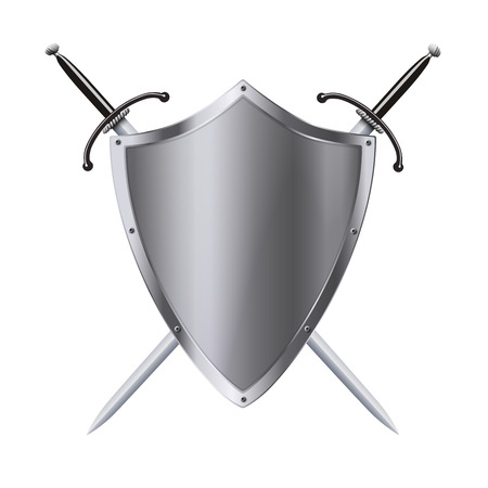 excalibur: Vector coat of arms medieval knight shield and double-edged sword isolated Illustration