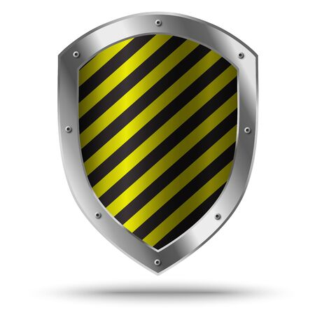 Classic metal shield with yellow pattern. Hazard symbol.