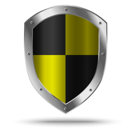 aegis: Silver shield with yellow chessboard pattern. Hazard symbol.