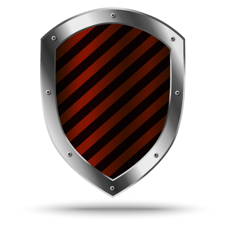 panoply: Classic metal shield. Protection or hazard symbol.
